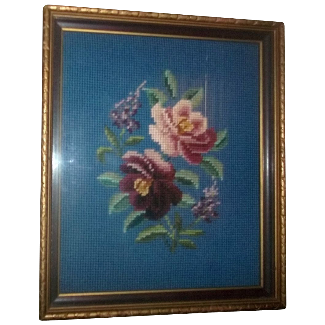 Lovely Vintage Framed Floral Needlepoint