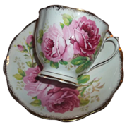 American Beauty Rose Floral Motif Tea Cup & Saucer  Royal Albert