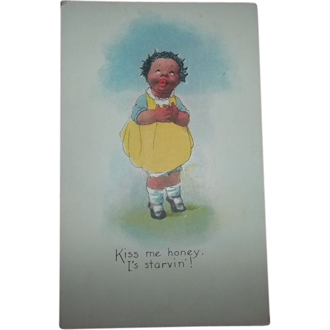 Black Americana Memorabilia   Collectible Post Card Kiss Me Honey I's Starvin
