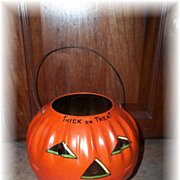 Vintage Halloween Tin Trick Or Treat Jack O Lantern Pumpkin US Metal Toy Co