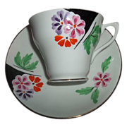 Hand Painted Floral  Rosina Bone China Tea Cup & Saucer Set