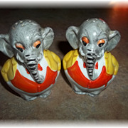 Charming Hand Painted Figural Elephant Salt & Pepper Shakers Germany