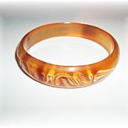 Unusual Carved Horn Bangle Bracelet