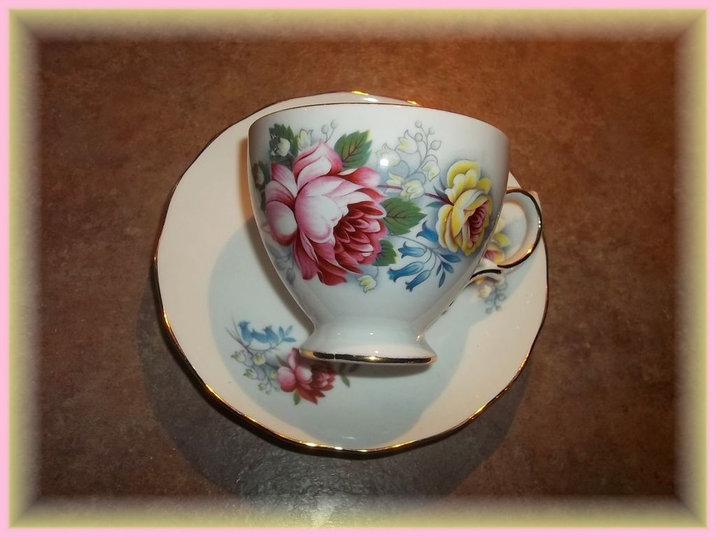 Vintage Floral Tea Cup & Saucer  Pink Yellow Roses