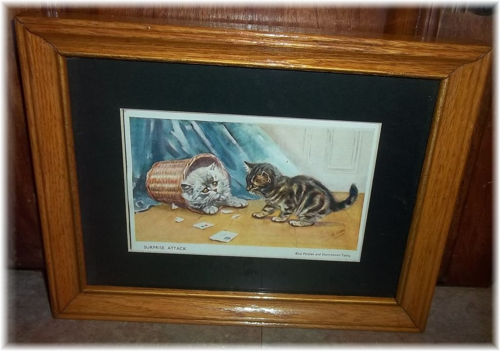 Charming Framed Printed Kitty Cat Kitten Postcard