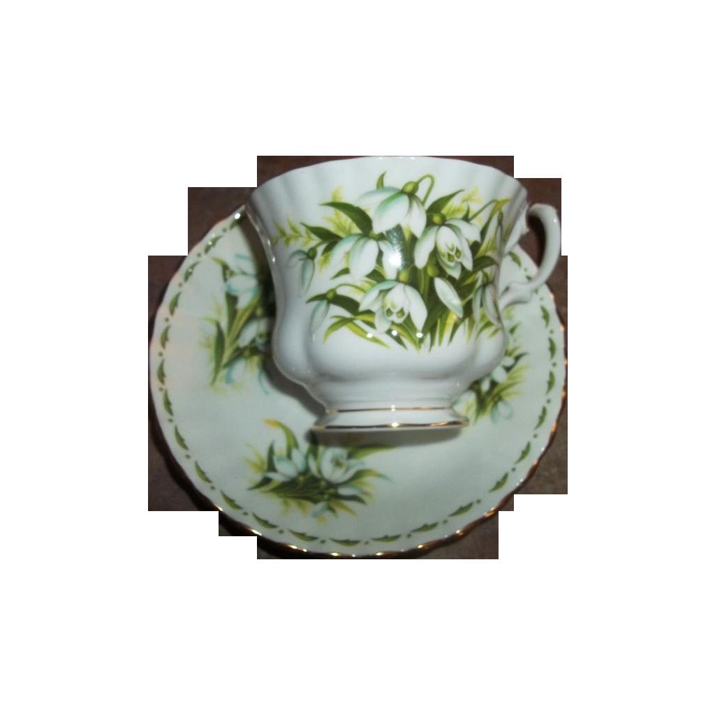 Flower Month  Royal Albert Tea Cup Saucer January  Snow Drops