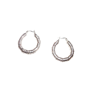 Pretty Vintage 925 Sterling Silver Hoop Earrings Pierced