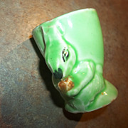 A Collectible Green Royal Art Pottery Figural Squirrel Egg Cup