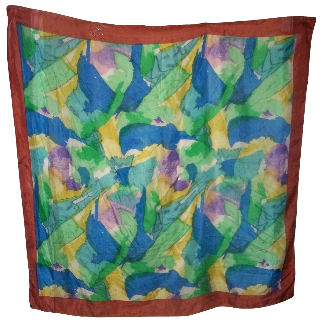 A Splash of Colors  100 % Reine Seide  Silk Scarf  Large