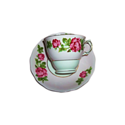 Rose Floral Tea Cup & Saucer Colclough Bone China MIE