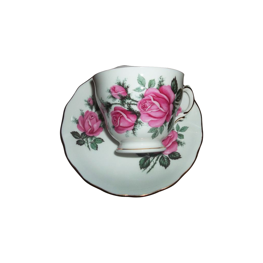 Pink Rose Floral Motif  Royal Vale Tea Cup Saucer Set