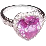 Lab Created Pink  and  White Sapphire 10K White Gold Heart Ring Sz 7 For The One You Love