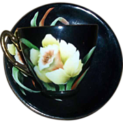 H.P. Black Tea Cup and Saucer Yellow Daffodil Motif Artist Signed