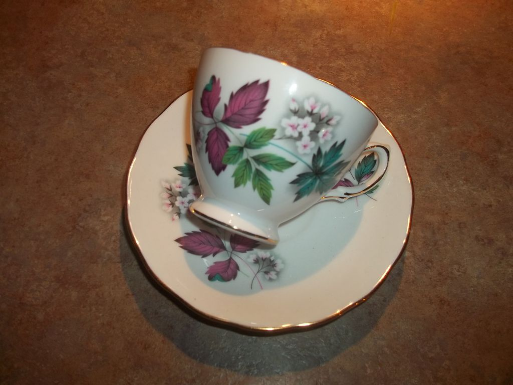 Vintage Flower Leaf Tea Cup and  Saucer  Set Royal Vale