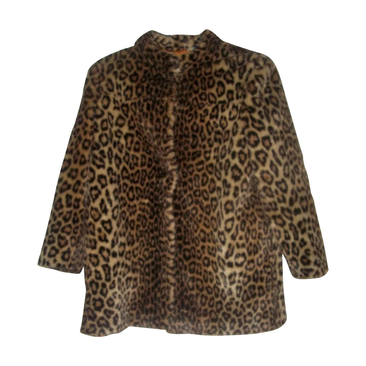 Ladies Vintage Faux Leopard Print Short Coat Jacket