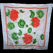 Designer Signed Carelton  Varney Geranium Floral Silk Scarf