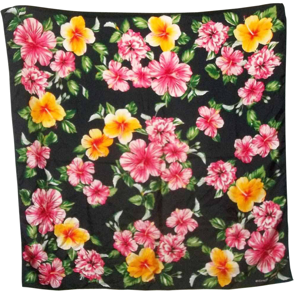 Pretty  Mixed Bright Floral Designer Signed Scarf ECHO