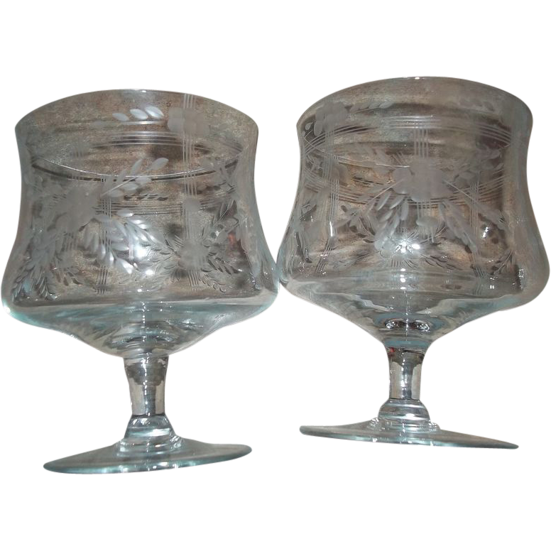 2 vintage crystal glass brandy cognac liquor snifters for L furniture warehouse victoria bc