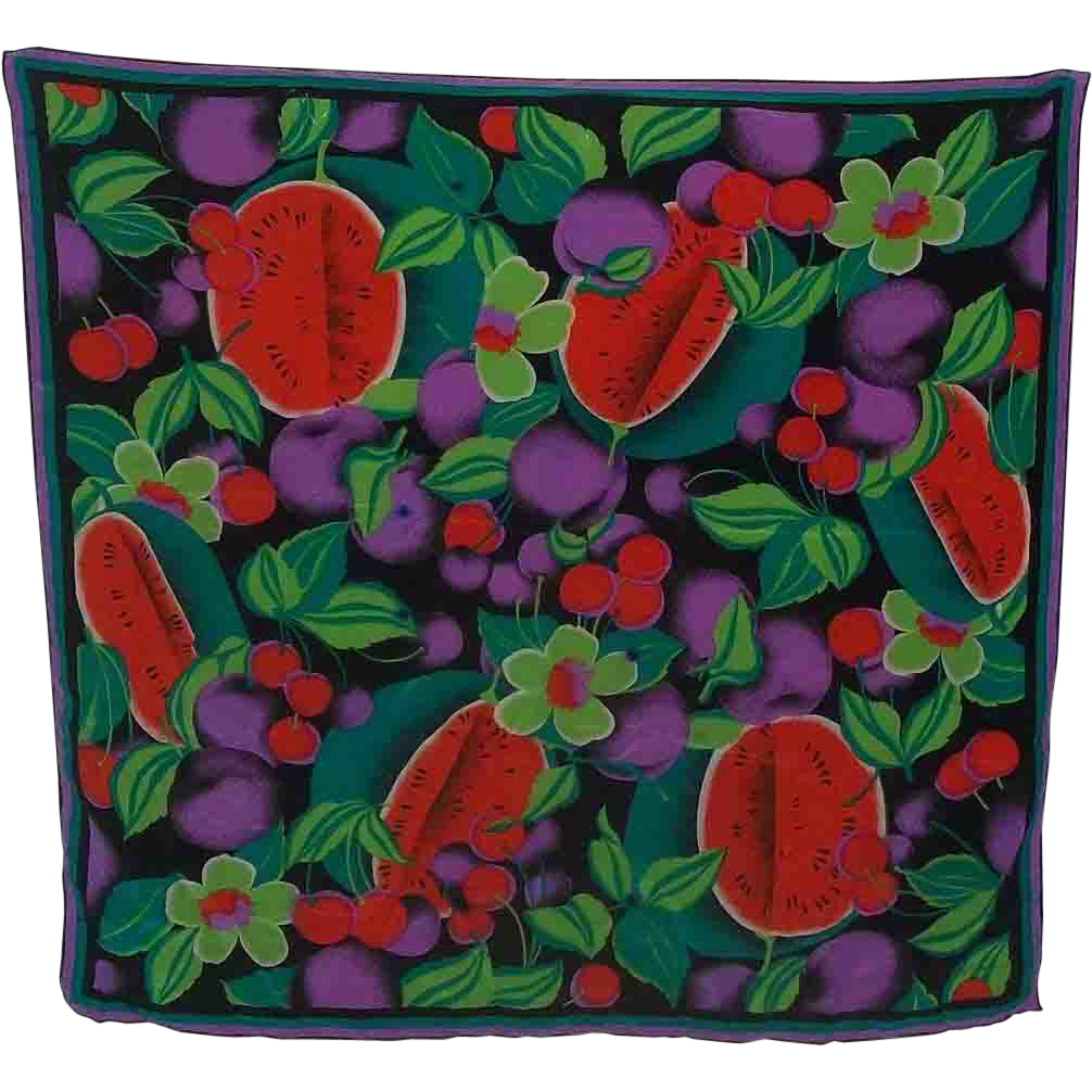 An Exceptional Designer Saldarini  Silk Chiffon  Bright Colorful  Fruit  Floral Scarf