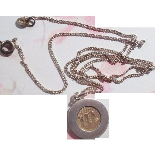 Designer Kupittaan Kulta M Inital Pendant Necklace Sterling Silver