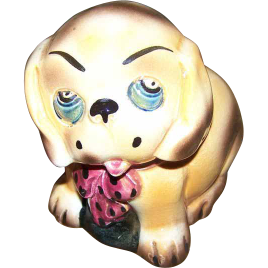 Charming Art Pottery Puppy Dog Figural  Figurine Made In England