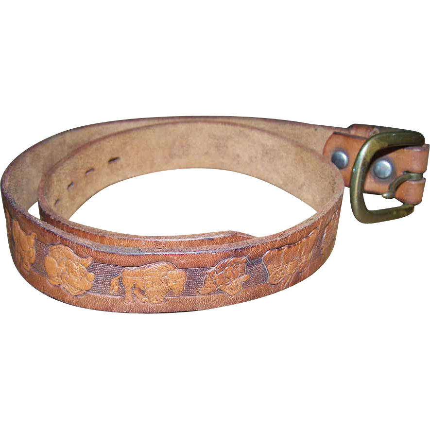 Walt Disney PROD Hand Painted Genuine Leather Belt Western Mickey Mouse