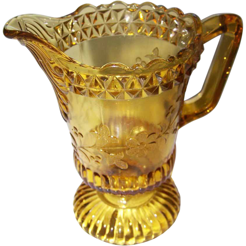 Adams Glass Co  Amber Pressed Glass Creamer EAPG WILDFLOWER