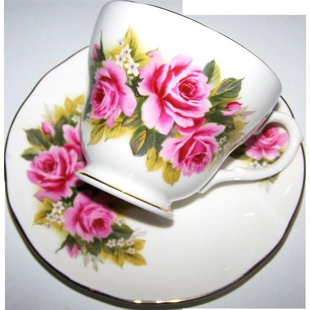 Pretty Rose Floral Tea Cup & Saucer Set Duchess England