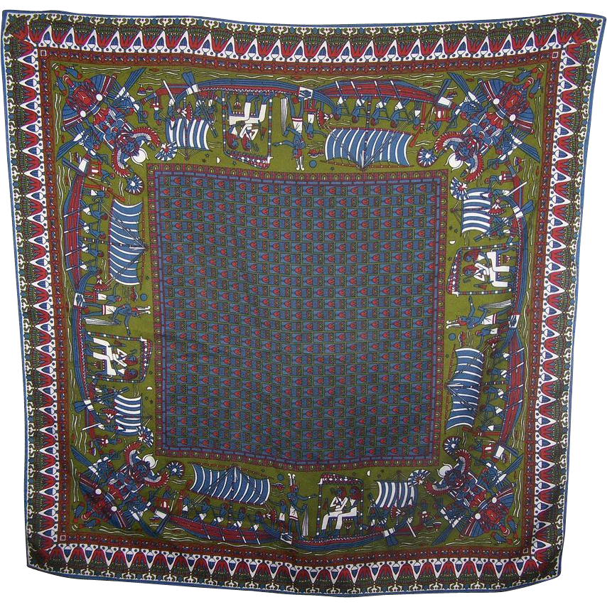 A work of ART Decorative Vintage Egyptian Revival Themed Ladies Scarf