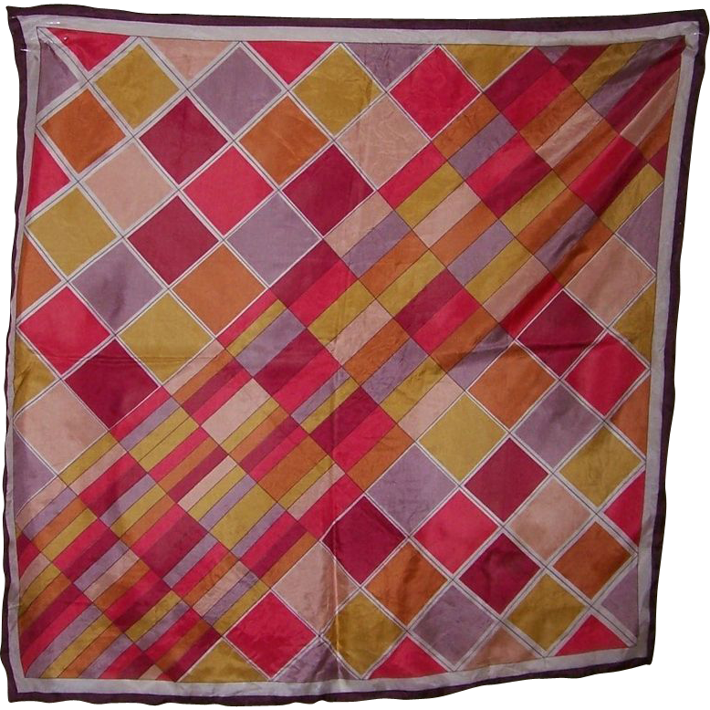Vintage Colorful Triangle Brand Geometric Silk Scarf