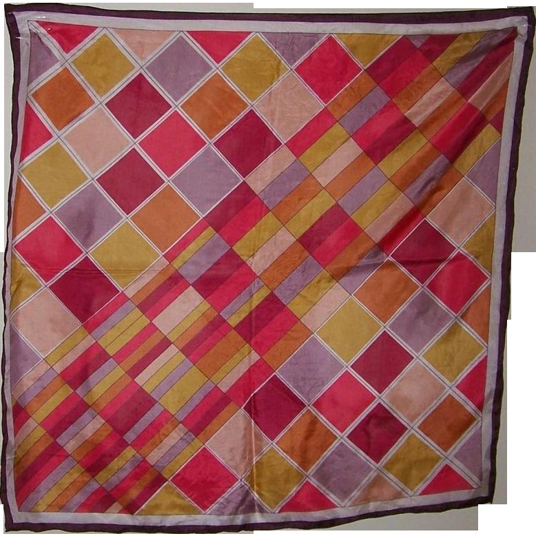 Vintage Colorful Triangle Brand Geometric Silk Scarf