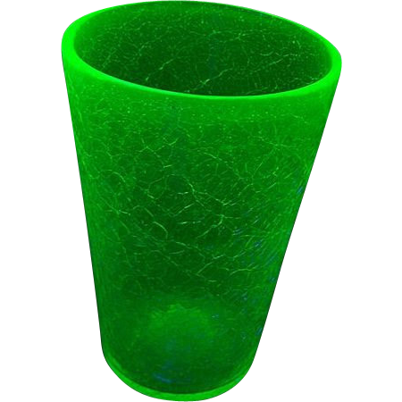 Hand Blown GLOWS Under UV Lite Greenish Blue Crackle Uranium Pontil Glass Vase