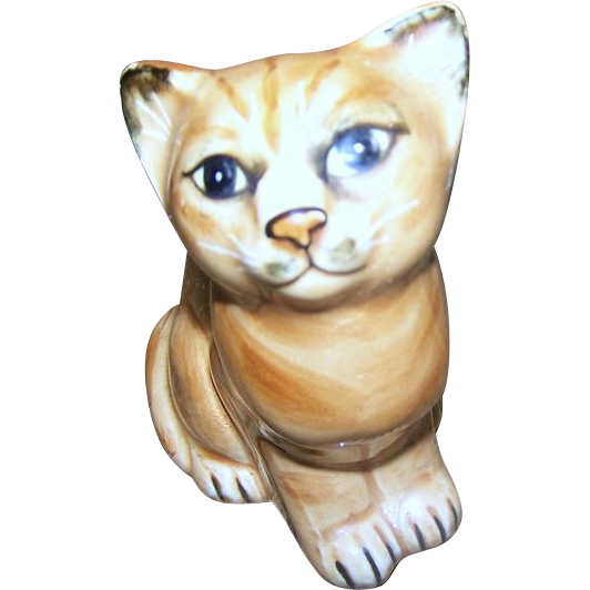 Superb Seymour MANN Japan C. 1978 Pretty Kitty Cat Kitten Ceramic  Figurine