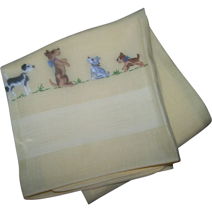 A Charming Vintage Yellow Hand Embroidered Kitchen Tea Towel Featuring a Puppy Dog