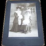 Charming Vintage Cabinet Card Ladies of Fashion Hats Fur Muffs