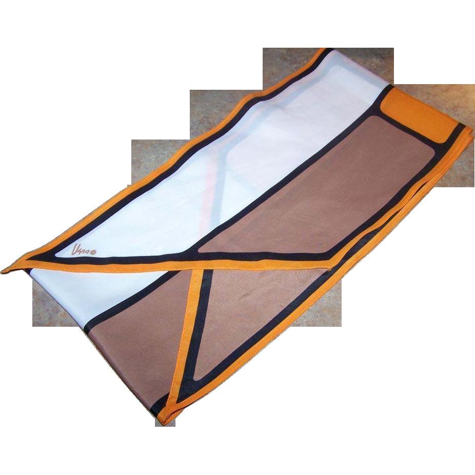 Designer Signed Vera Neumann Scarf Long Rectangle Wing Tipped Geometric Pattern
