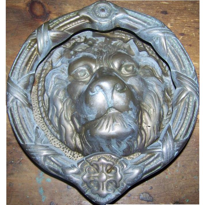 Large old brass metal ware cat lion head door knock knocker sold on ruby lane - Large lion head door knocker ...