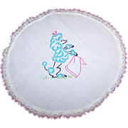 Charming Linen Embroidery Blue Poodle Doily Set