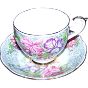 Pretty Pink Purple Floral Tea Cup & Saucer Set