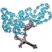 Vintage Faceted Blue Crystal Rosary Prayer  Beads