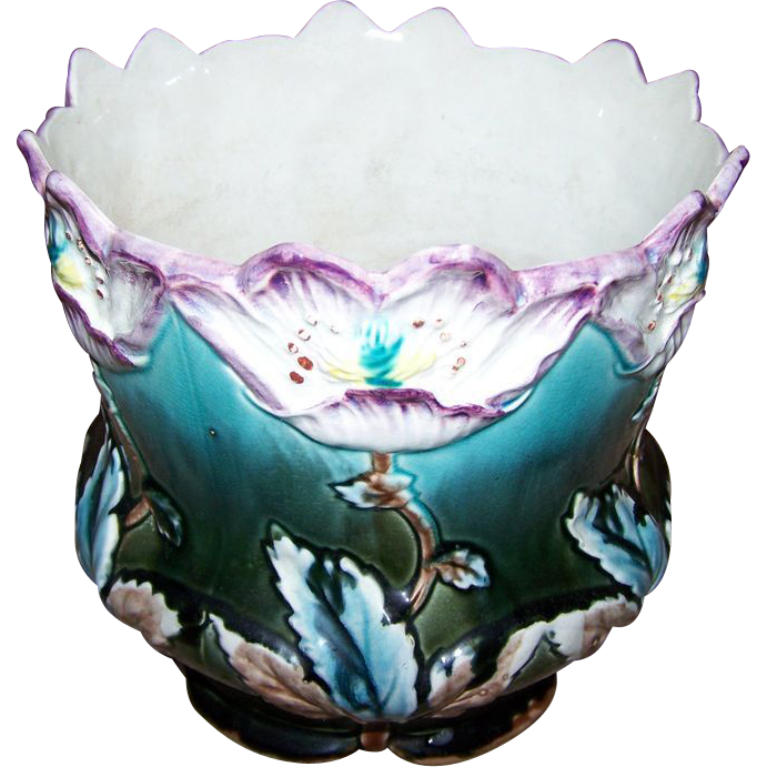 Oh WOW A Rare Vintage  French Majolica Planter Jardinière Floral Fives Lille