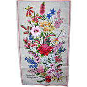Beautiful Vintage Linen Kitchen Tea Towel Australian Wildflowers