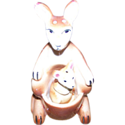 Ceramic Mommy Kangaroo and Baby Joey Salt Pepper Shakers