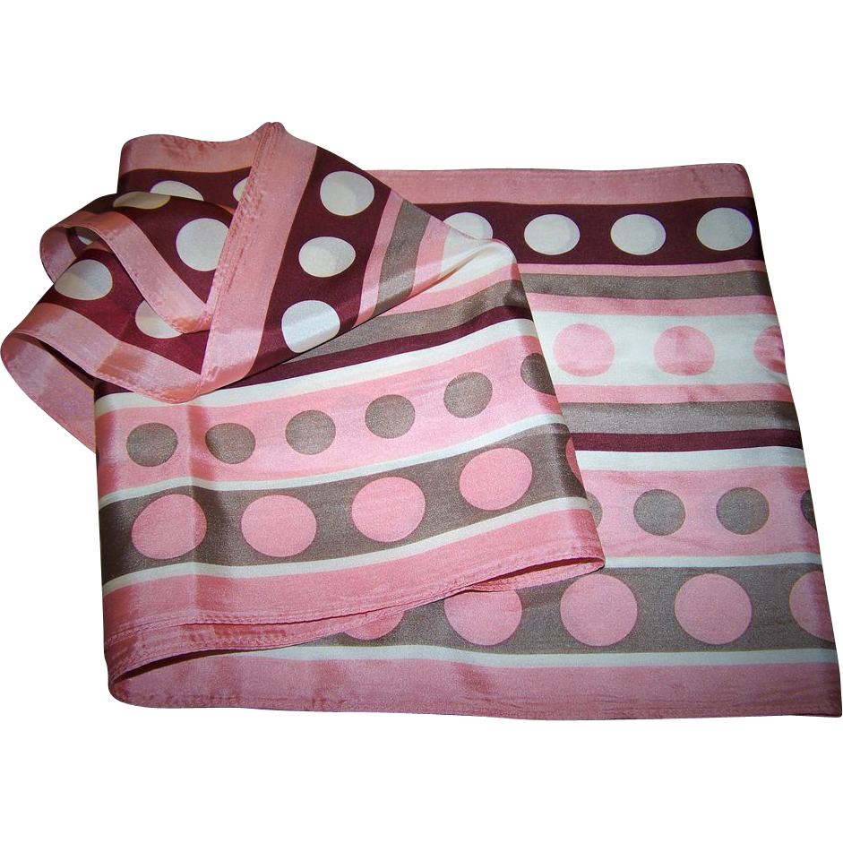 Pretty Vintage Rectangular Polka Dots and Stripes Silk Scarf