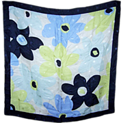Pretty Small Vintage Floral Dot Pattern Scarf Handkerchief