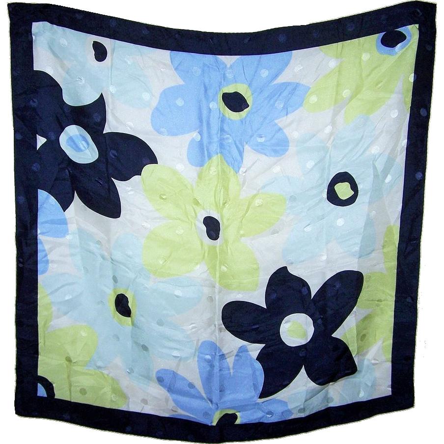 Pretty Small Vintage Floral Dot Pattern Scarf Handkerchief