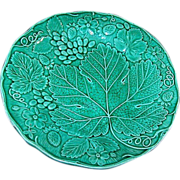 Wonderful Green Majolica Style Plate Strawberry Grape Motif