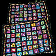 Retro Granny Square Crochet Patch Work Quilt Blanket