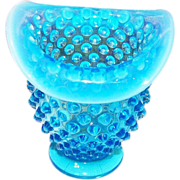 "3.5"" Mini Glass Bud Vase Fenton Blue Hobnail Opalescent Rim"