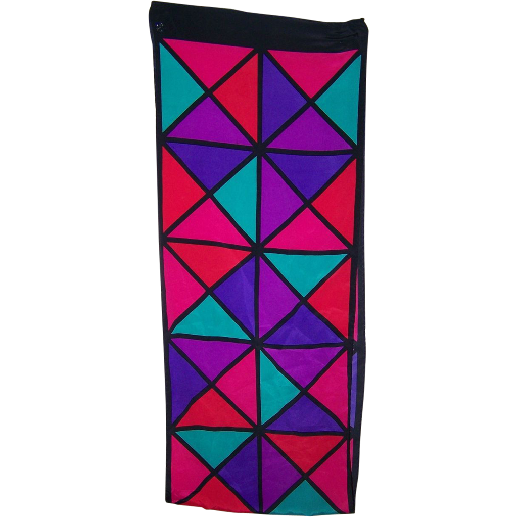 Brightly Colored Geometric Print Ladies Rectangular Scarf
